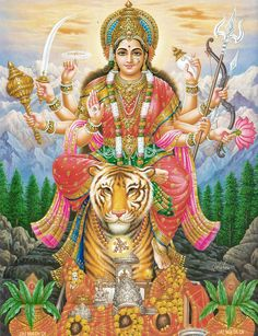 Durga Ashtottara Shatanamavali, 108 Names of Durga Devi (By Naveen). Hindupad publishes Durga Ashtottara Shatanamavali, 108 Names of Durga Devi. Names Of Goddess Durga, Durga Goddess, Gods And Goddesses, Navratri Puja, Happy Navratri, Durga Puja, Shri Hanuman, Hena, L Ascension