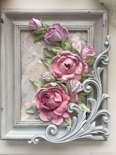 Buy Panel Sculptural painting of a Rose in a . Buy Panel Sculptural Roses in the online store at the Fair of Masters Paper Flowers Craft, Clay Flowers, Flower Crafts, Clay Wall Art, Clay Art, Flower Frame, Flower Art, Foto Transfer, Plaster Art