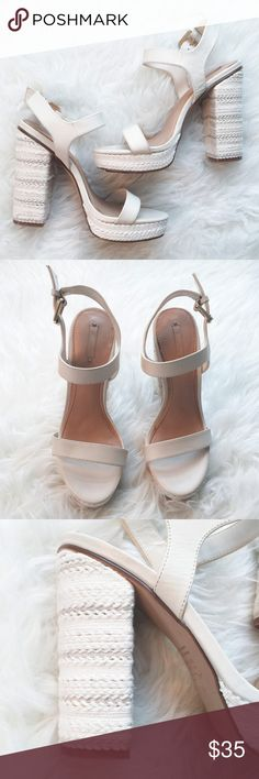 "ALDO Ankle Strap Platform Sandals Heels Ivory "" ALDO ""      Ankle Strap Sandals     Platform     Heels   Size :7.5  Heels : 5.25""  Excellent used condition. Very minor sign of wear.  Please see the pictures.  Thank you for looking my item. Please check out my other items. Aldo Shoes Sandals"