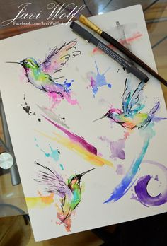 Watercolor Hummingbirds - Pintura de un servidor :D