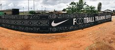 Teamed up with Futura and Nike to create a hand painted wall mural outside the Nike Football Training Center in Soweto, Johannesburg, South Africa. The illustrations were inspired by South African football culture, everything from hair aesthetics, c… Football Field, Nike Football, Football Equipment, Hand Painted Walls, 200m, Training Center, Wall Murals, African, Gallery