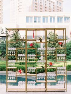 Display seating/escort cards, event or family photos, behind bar, reception decor   Event furniture rentals from Perch Event Decor   perchdecor.com