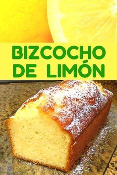 Bizcocho de limón casero, esponjoso y muy fácil Delicious Desserts, Dessert Recipes, Yummy Food, Cake Recipes, Pan Dulce, Lemon Recipes, Sweet Recipes, Lemon Sponge Cake, Salty Cake