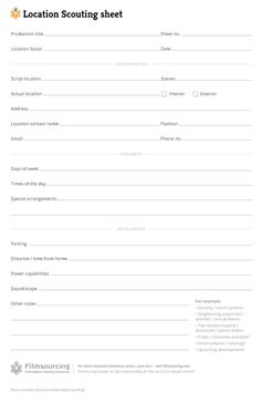 Location Scouting Sheet - Download FREE Filmmaking Production Documents