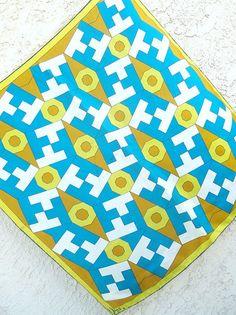 1970s geometric green, blue and yellow Vera scarf.