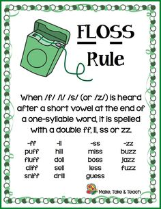 Memory aids are often used to help students remember certain spelling rules. The FLoSS rule is one of the first spelling rules taught to our first and second grade students to help them understand whe Phonics Rules, Spelling Rules, Phonics Words, Teaching Phonics, Phonics Activities, Teaching Reading, Phonics Reading, Reading Comprehension, Spelling Word Activities