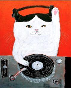 "Illustration by pepe shimada, Good luck Cat DJ""."