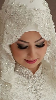 I love hijab Bridal Hijab, Muslim Wedding Dresses, Wedding Hijab, Wedding Bride, Bridal Dresses, Wedding Gowns, Beautiful Hijab, Beautiful Bride, Turkish Wedding
