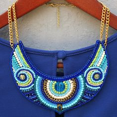 Blue beaded bib necklace Bead embroidered necklace boho style Bohemian summer accessory African print women jewelry Tribal ethnic fashion by BusikoUA on Etsy