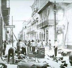 Calle de Monterrey después de La Gran Inundación en Agosto de 1909.