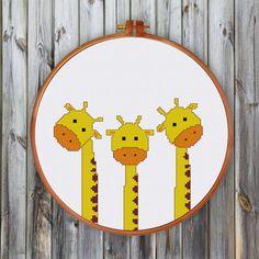 Funny Giraffes cross stitch pattern Cute nursery by ThuHaDesign