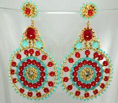 Beaded Earrings Feminine Gypsie Charm Red by createdbycarla