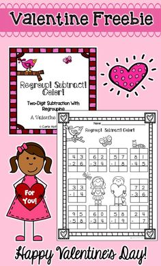 Cute practice page for double-digit subtraction with regrouping with a Valentine theme! Just print and enjoy this freebie!