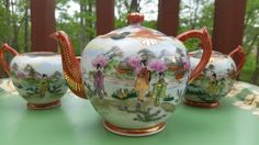 Vintage Japanese Teapot Sugar Bowl and Creamer by CleoAndCo