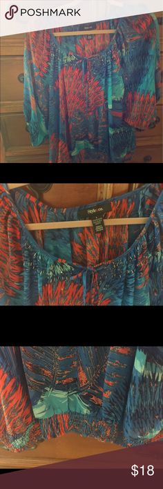 Style and Co. Blouson Top Striking Blue and Orange Style and Co. Blouson Top in Size Large. Cinched at waist, tie at beck with embellishments. Gently worn. Style & Co Tops Blouses