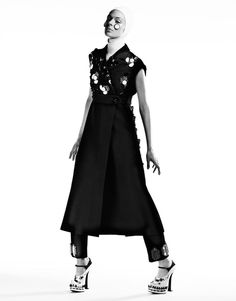 Dansk magazine takes the current religious themes in fashion into a unique, high drama black and white vision with 'Sartorial Saint', featuring Kinga Rajzak. Cuneyt Akeroglu is behind the lens, capturing the 21st century fine tailoring, modern architecture, contemporary modesty looks. /Hair by Ben Hones; makeup by Lisa Eldridge