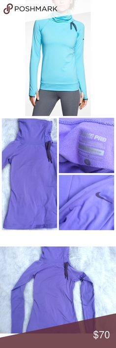 •Nike Pro• cowl neck pullover Super soft cowl neck Dri Fit pullover by Nike Pro. Very gently used; 9.5/10 condition. No piling, stains or holes. Delicate lavender color. Thumb holes on each sleeve. Nike logo on left shoulder. Cowl neck with asymmetrical gray drawstring. Feels like thin fleece on the inside. Tight fitting; fits small well but would probably fit XS well, also. Price is negotiable through the offer button. No trades Nike Tops Sweatshirts & Hoodies