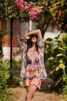 printed kimono and colorful jumpsuit