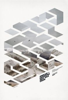 Poster design by Mark Brooks. Love the masking of a single photo with an abstract, geometric shape.