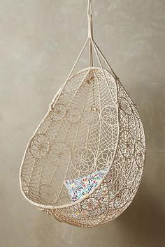 Lacy hanging chair. Perfect for that beachy vibe. (scheduled via http://www.tailwindapp.com?utm_source=pinterest&utm_medium=twpin&utm_content=post182240479&utm_campaign=scheduler_attribution)