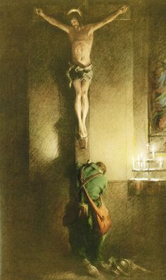This painting can be found at Holy Innocents Church in New York. The artist had just attended Mass when he noticed a young soldier kneeling at the foot of a crucifix. He was so moved that he started work on this painting.