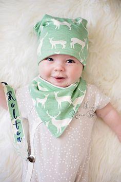 Deer Baby Bib, Organic Knit Bandana Bib, Slouch Beanie, Green Bibdana, Personalized Pacifier Leash, Girl, Boy, Cream, Blue, baby Shower Gift by KenaBows on Etsy