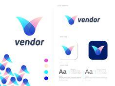 V Logo Design, Brand Identity Design, Branding Design, Graphic Design, Ui Design Inspiration, Letter V, Brand Style Guide, Logo Concept, Paint Designs