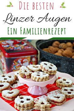 Authentic Linzer Cookies - the famous Christmas Cookie from Austria - Traditional Linzer Cookies German Christmas Cookies, Christmas Desserts, Traditional Christmas Cookies, Christmas Recipes, New Year's Desserts, Cute Desserts, Easy Linzer Cookies Recipe, Holiday Baking, Christmas Baking