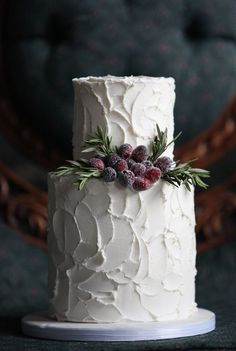 perfect rustic winter wedding cake, photo by Kat Willson http://ruffledblog.com/victorian-revisited-wedding-ideas #cakes #weddingcake #winter