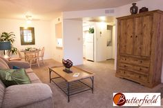 Butterfield Apartments 1 Bedroom Living/Dining Rooms, Flagstaff, AZ