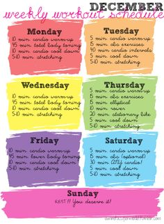 a weekly workout -- I definitely think I'd be more motivated if I made lovely charts and schedules with fun fonts...  Good call.