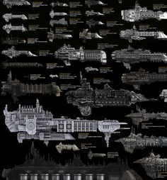 Imperium of Man, because you can't conquer space without churches. Every Major Sci-Fi Starship In One Staggering Comparison Chart Warhammer 40k Art, Warhammer Fantasy, Nave Star Wars, Star Trek, Battle Fleet, Battlefleet Gothic, Spaceship Design, Sci Fi Ships, Space Marine