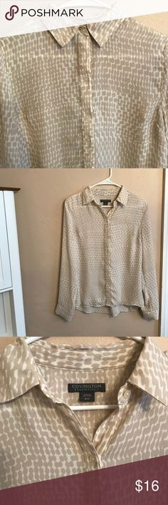 Beige Covington blouse Perfect work blouse. Beige and white patterned. Covington Tops Blouses