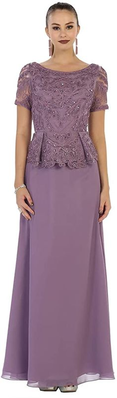 May Queen Classy Short Sleeve Mother of The Bride Dress (M, Victorian Lilac) Mob Dresses, Homecoming Dresses, Short Dresses, Elegant Dresses, Beautiful Dresses, Bodycon Outfits, Mother Of The Bride Dresses Long, Saree Dress, Special Occasion Dresses