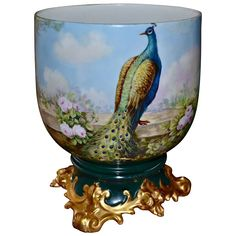 Limoges Spectacular Jardiniere with Scenic/Floral Decor of Regal Peacock, Roses & Hollyhocks together with Matching Ornate Plinth