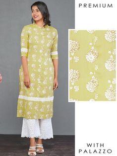 Kurta Sets - Fashor Printed Kurti Designs, Ethnic Kurti, Saffron Threads, A Line Kurti, Juicy Couture Bracelet, Silk Kurti, Embroidered Kurti, Mother Of Pearl Buttons, Floral Stripe