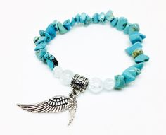 Turquoise has been long regarded as a stone of protection by the Pueblo, Navajo, Anasazi, and Apache. It helps to ease feelings of negativity and low self esteem, and supports immunity. https://www.etsy.com/listing/292389977/turquoise-bracelet-angel-wing-bracelet Turquoise Bracelet, Angel Wing Bracelet, Angel Bracelet, Crystal Bracelet, Healing Jewelry, Reiki Jewelry, Turquoise Jewelry, Angel Jewelry