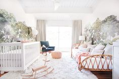 babyletto Hudson Crib in Emily Henderson's Nursery - A Baby Girl's Blush and Green Nursery