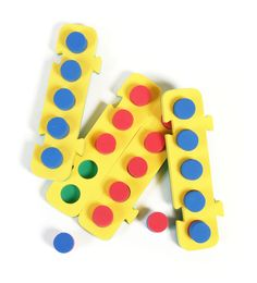 Five frames - Foam w/ 2-color pegs - Counting Spots | K.OA.A.5 Fluently add and subtract within 5.