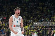 Luka Doncic, #7 of Real Madrid celebrates during the 2018 Turkish Airlines EuroLeague F4 Championship Game between Real Madrid v Fenerbahce Dogus Istanbul at Stark Arena on May 20, 2018 in Belgrade, Serbia.