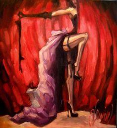 """Red Curtain"" Sherri Lemire  art artist illustration painting dance dancer home decor burlesque cabaret high heels sexy stockings costume"