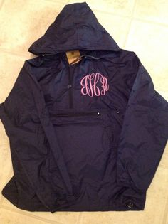 Monogrammed Hooded Rain Jacket by LittleCharmsDesigns on Etsy, $37.50