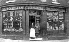 Shop belonging to E. Page, on corner of Hill Street and John Street Location: Sheffield_Highfield Candid Photography, Street Photography, Sources Of Iron, Happy City, Industrial Development, Old Street, Shop Fronts, Derbyshire, Sheffield