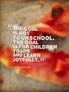 The goal is not to unschool.  The goal is for children to live and learn joyfully. - Joyce Fetterol. note to self nad
