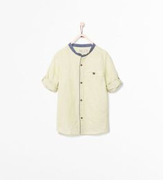STRIPED SHIRT WITH MAO COLLAR