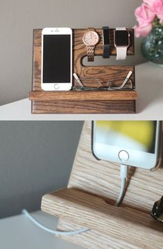 Oak Nightstand Valet ⌚️ Wooden Phone Stand | Phone Charging Dock | Wood Docking Station | Personalized Phone Stand| Kona Stain