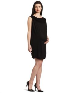 Jules  Jim Womens Maternity VBack Sleeve Less Shift Dress Black Large