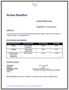 Resume Template of a Computer Science Engineer Fresher with Great Career Objective and Interest, Professional Curriculum Vitae with Free Download in Word Doc (2 Page Resume) (Click Read More for Viewing and Downloading the Sample)  ~~~~ Download as many CV's for MBA, CA, CS, Engineer, Fresher, Experienced etc / Do Like us on Facebook for all Future Updates ~~~~