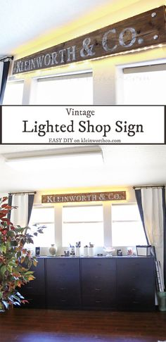 Vintage Lighted Shop Sign - No cutting machine needed. It's as easy as press, cut, paint & sand & you have this great personalized, vintage inspired shop sign.