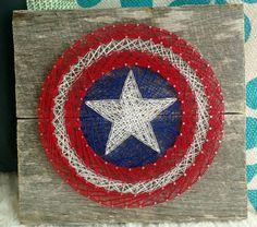 Captain America String art by Mandaspandemonium on Etsy at https://www.etsy.com/listing/468549545/captain-america-string-art
